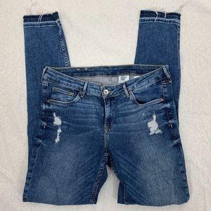 &Denim H&M Super Skinny Low Waist Raw Hem Jeans